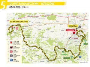 Fot. Materiały organizatorów. Trasa V etapu Tour de Pologne Nagawczyna – Rzeszów